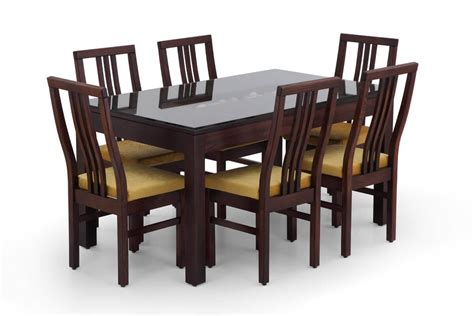 Rectangular Glass Dining Table Set Buy Rectangular Glass Dining Table Set Wooden Glass Dining Set For 6 Ekbote Furniture India