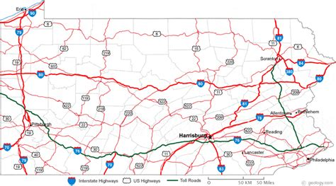 road map of pennsylvania map of pa outravelling maps guide