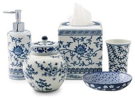 ming bath accessories blue white traditional