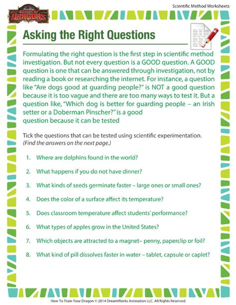 asking the right question worksheet scientific method