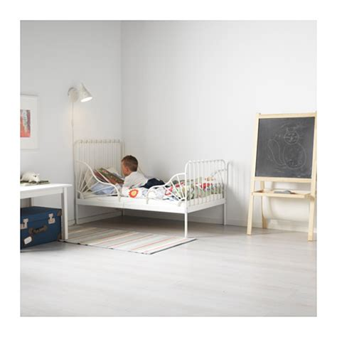 ikea minnen bed minnen ext bed frame with slatted bed base white 80x200 cm