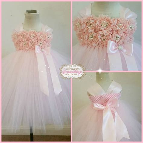 light pink tulle skirt pink shabby chic flower girl dress