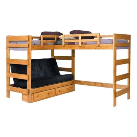 Woodcrest Heartland Futon Bunk Bed woodcrest heartland futon bunk bed with loft honey