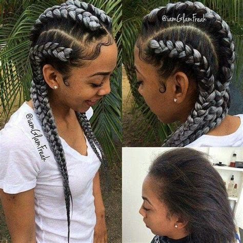 hair braids going up in a ball gray cornrows i jus love pinterest hair gray and other