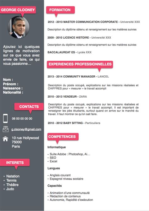 Exemple Cv Gratuit by T 233 L 233 Charger Modele Cv Word Etudiant Cv