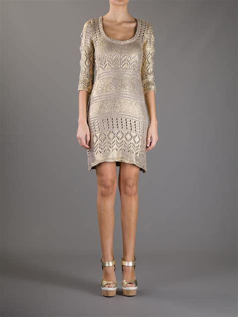 Philipp Plein Dress philipp plein metallic knit dress in metallic lyst