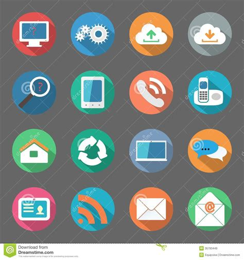 icon design com communication icons set flat design stock illustration