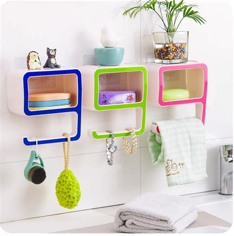 Creative Number 9 Storage Soap Rack Plastic Boxes Suction Bathroom Storage Organizer