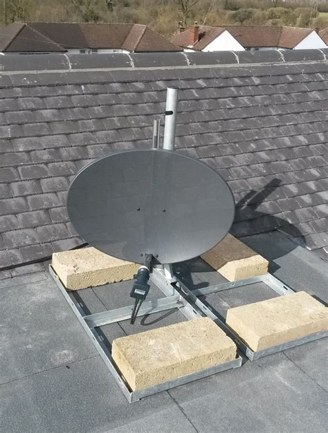 Tv Roof sky dish installation to flat roof bushey aerials