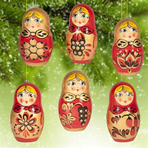khohloma style ornaments russian christmas ornamets