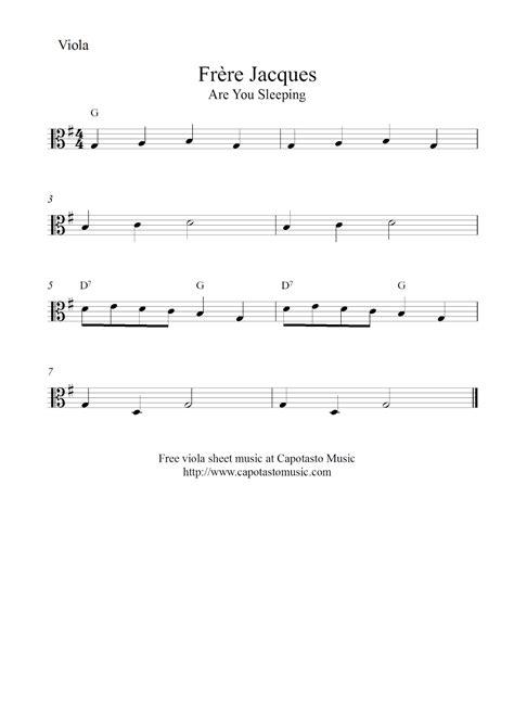 free printable sheet music viola free easy viola sheet music fr 232 re jacques are you sleeping