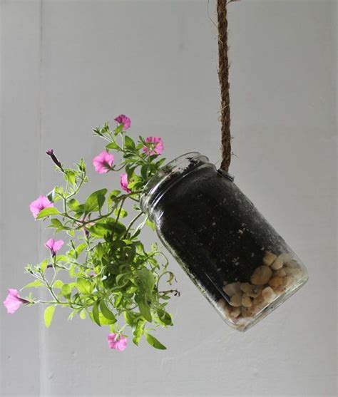 Jar Hanging Planter by Hanging Jar Planter With Drainage Upcycled Home