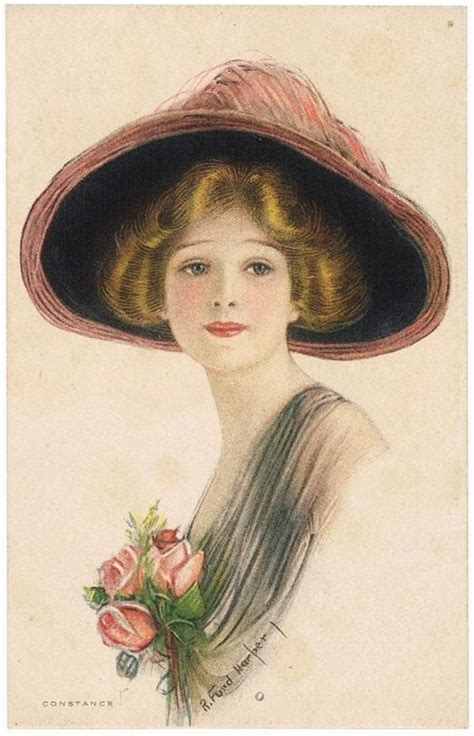 lade vintage with hat constance postcards hobbydb