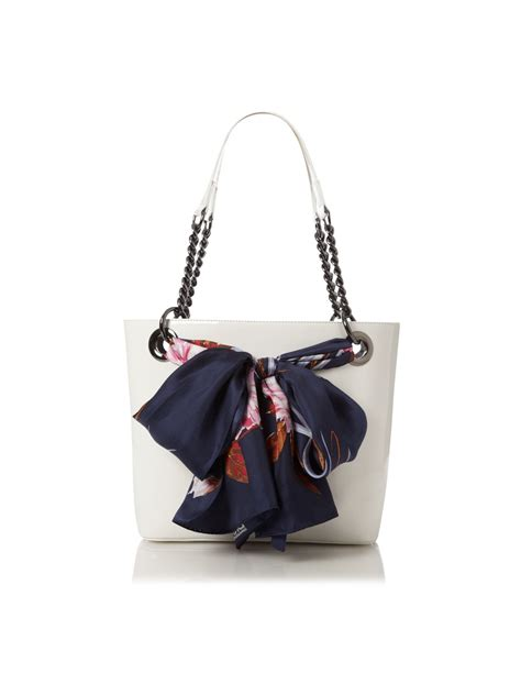 dkny patent small scarf tote bag in white lyst
