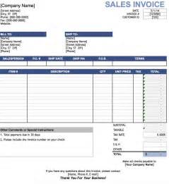 Sales Invoice Template Excel by Free Sales Invoice Template Excel Pdf Word Doc