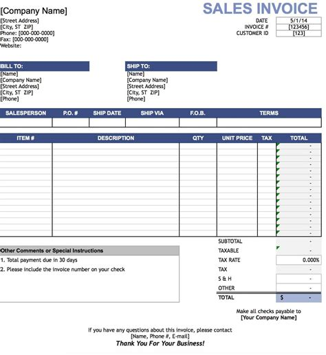 Invoice Template Excel by Free Sales Invoice Template Excel Pdf Word Doc