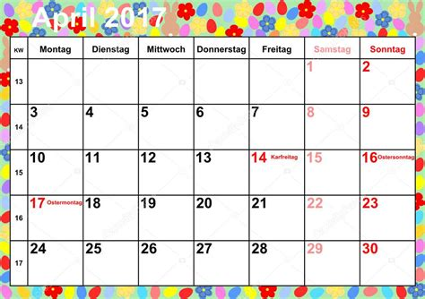 calendario d abril asignacion 2017 meses calendario 2017 abril para alemania vector de