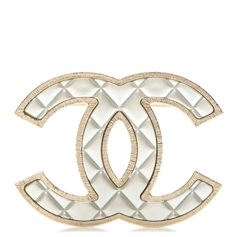 Metal Brooch chanel metal quilted cc brooch silver gold 183894