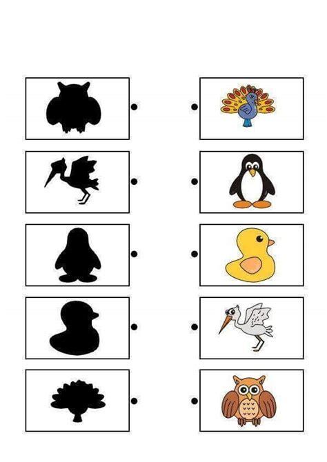 bird shadow matching sheets 171 funnycrafts
