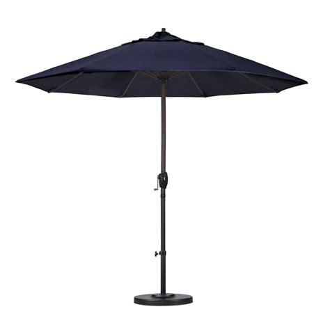 Navy Blue Patio Umbrella California Umbrella 9 Ft Aluminum Auto Tilt Patio Umbrella In Navy Blue Olefin Ata908117 F09