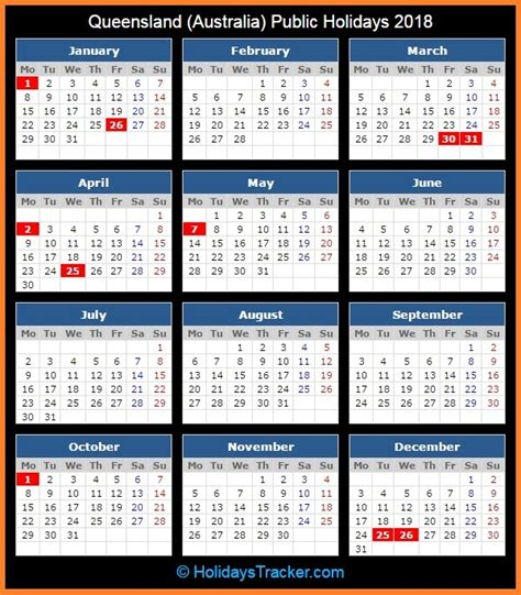 Calendar 2018 Qld Printable Queensland Australia Holidays 2018 Holidays Tracker