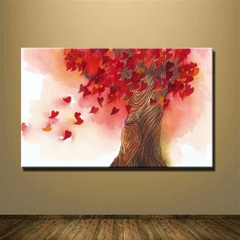 4 piece frameless colourful leaf trees canvas painting frameless red tree heart leaves pictures abstract painting
