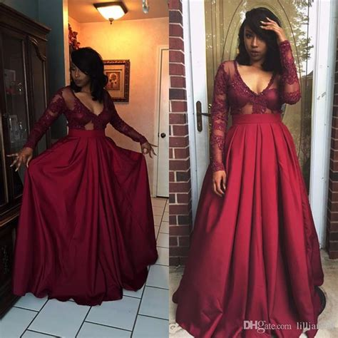 attractive black girl lace burgundy prom dresses applique