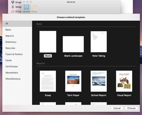 pages for macos always start new documents with specific