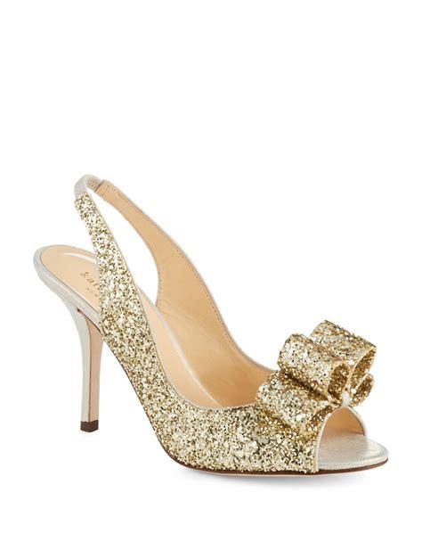 Charm Heels kate spade charm glitter heels in gold gold glitter lyst