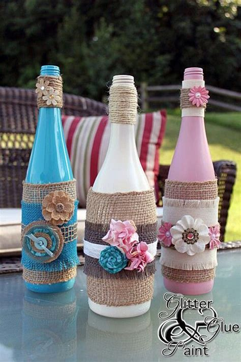 bottles may be used for home made drinks flower