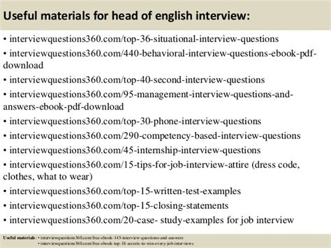 Security Job Description Resume by Top 10 Head Of English Interview Questions And Answers