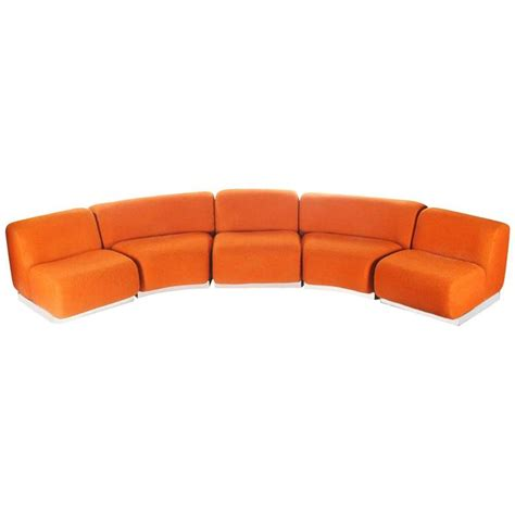 Curved Modular Sofa Curved Or Circular Mid Century Modern Modular Sofa With Chrome Base At 1stdibs