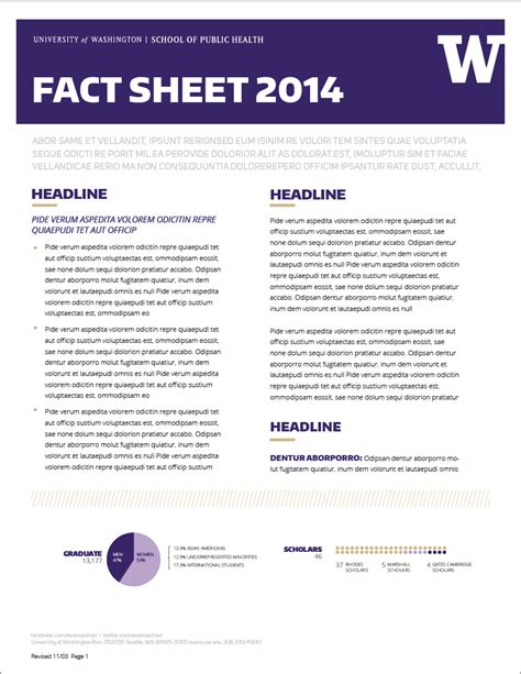 fact sheet template word fact sheet uw brand