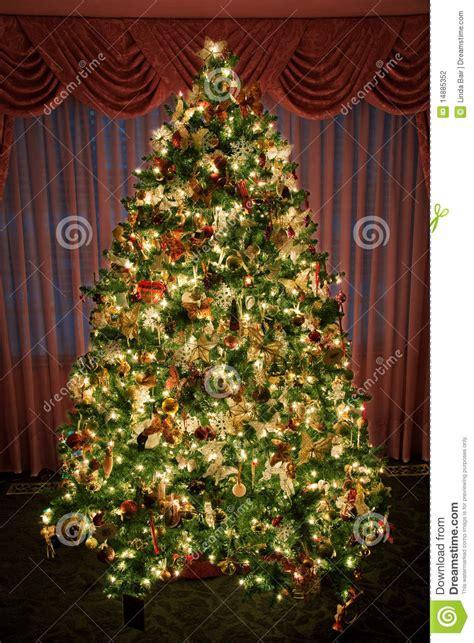 verziert beleuchteter weihnachtsbaum stockfotografie