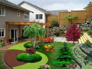 Exterior ideas for landscaping ine with brown color wooden pergola