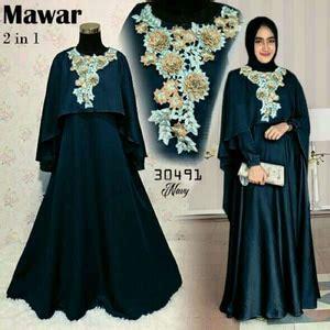 Baju Pakaian Wanita Gamis Maxi Lucia Dress Navy Grosir Murah baju gamis dress cape muslim bordir cantik model terbaru