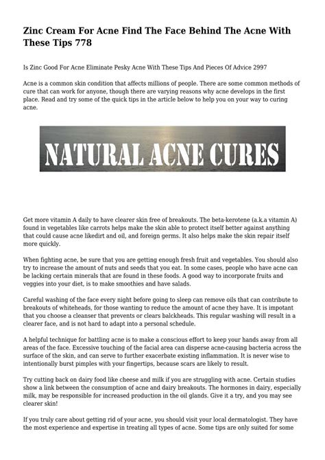 Garden Of Zinc Acne Zinc For Acne Find The The Acne With
