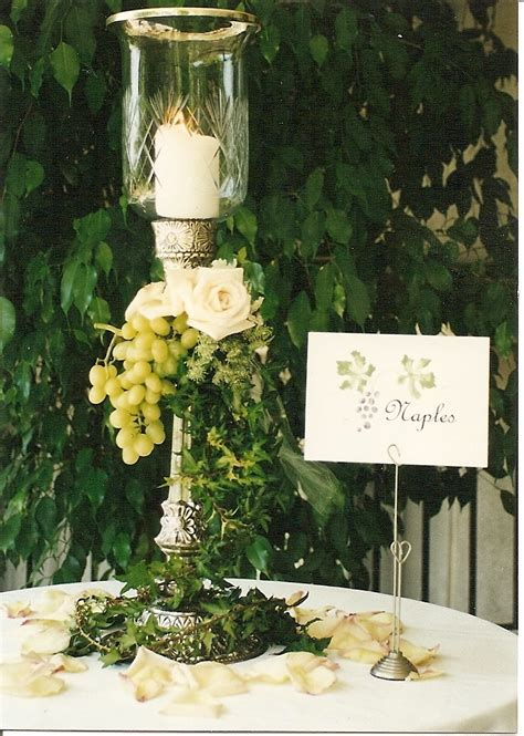 designs italian tuscan theme centerpiece and table card