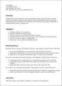 Wind Turbine Technician Sle Resume by Professional Wind Turbine Technician Templates To Showcase