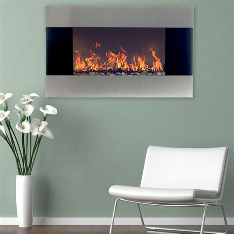 stainless steel wall mounted electric fireplace northwest 35 in stainless steel electric fireplace with