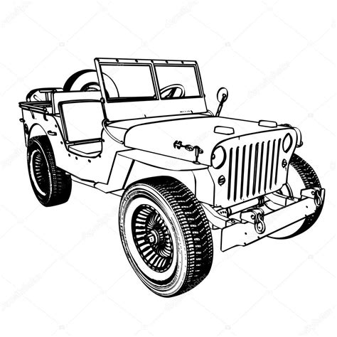 army jeep drawing vintage wwii american jeep stock vector 169 kotkoa 13708080