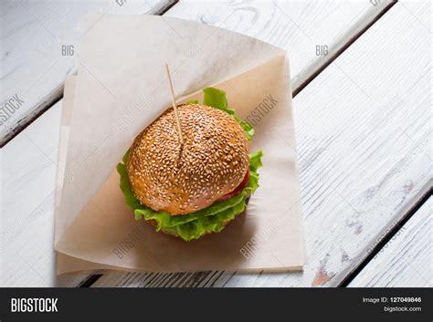 origami burger big burger on stick burger laying image photo bigstock