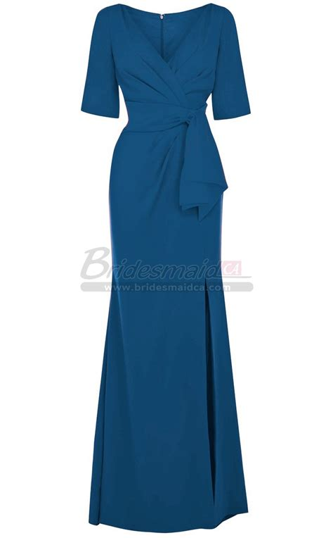 Sleeve Chiffon Dress chiffon v neck blue bridesmaid dress with sleeves in