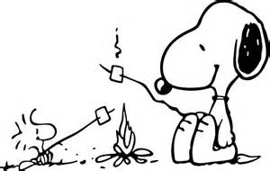 snoopy woostock roasting marshmallows campfire decal sticker 01