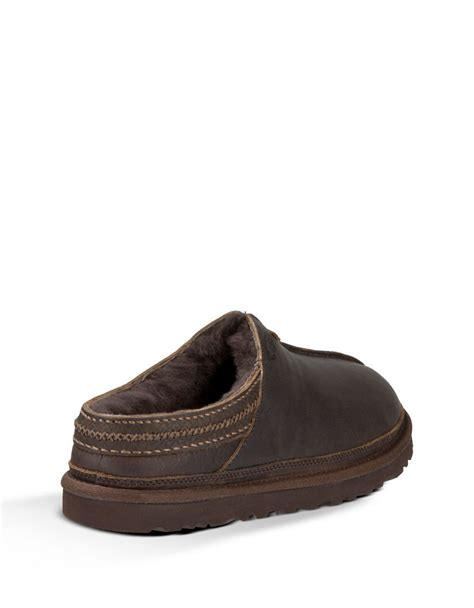 ugg neumel leather and lined slip on shoes in brown