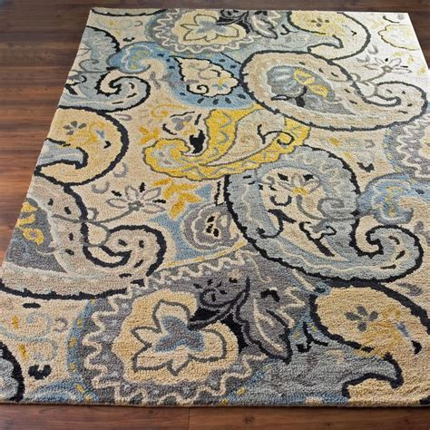 Yellow And Gray Kitchen Rugs Butter And Steel Paisley On Paisley Steel And Butter