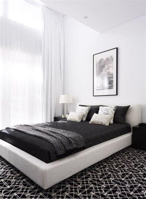 inspirasi desain interior kamar tidur warna hitam putih