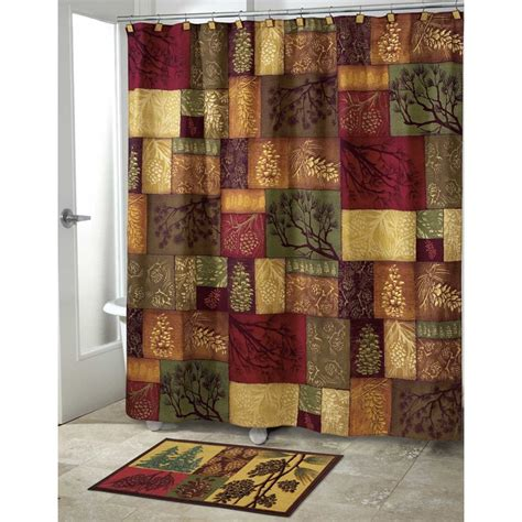 bathroom shower curtain and rug sets adirondack pine bath set 5 piece lodge cabin decor shower curtain rug and more ebay