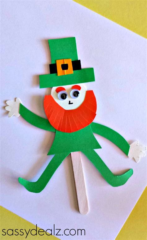 Leprechaun Toilet Paper Roll Craft - popsicle stick leprechaun puppet craft for st s