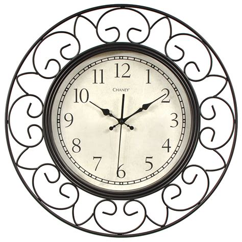18 inch decorative wrought iron metal wall clock chaney